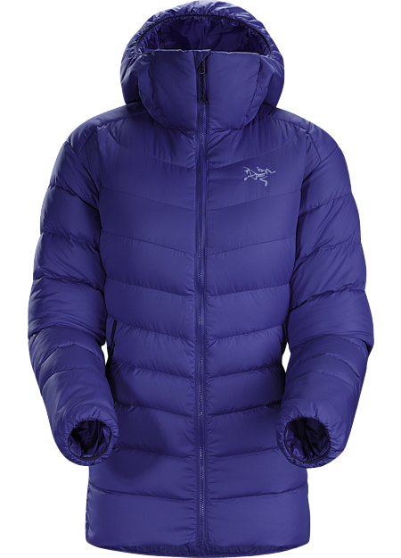 Thorium AR Hoody Women's Versatile women's insulated hoody made with durable Arato™ 40 face fabric and lofty 750 fill grey goose down. Functions as a cold weather midlayer or standalone piece in cool, dry conditions. Down Series: Down insulated garments | AR: All-Round.
