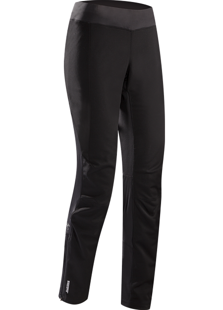 Trino Tight Women's Trim fitted, full length tight for cold, windy conditions, constructed with windproof textile in the front of the legs, and moisture wicking, stretchy knit textile in the back of the legs for comfort and warmth
