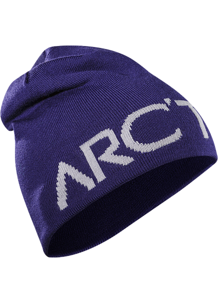 Word Head Long Toque Longer length wool blend reversible toque with a bold Arc'teryx word logo on one side, solid color on the other.
