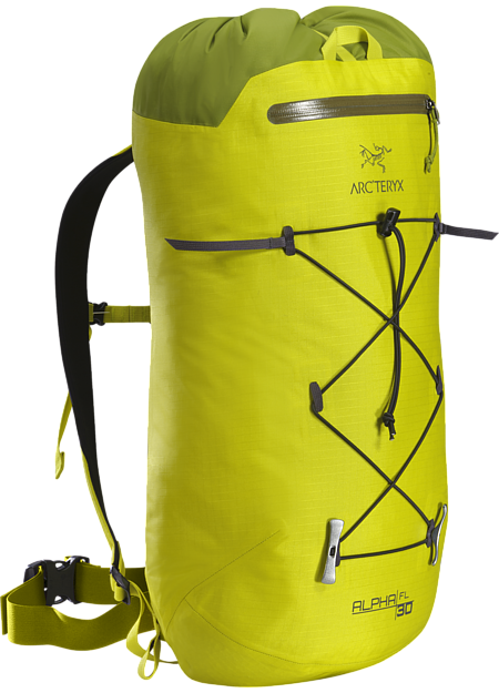 Alpha FL 30 Backpack Ultra light, durable, highly weather resistant climbing pack designed for fast and light alpine, ice and rock routes. Alpha Series: Climbing and alpine focused systems | FL: Fast and Light.