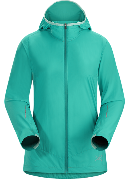 Cita Hoody Women's Lightweight, stowable minimalist hoody for high output mountain training in light precipitation and cool, windy conditions.