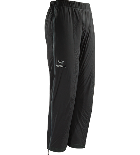 Atom LT Pant Insulated, wind-resistant pants using Coreloft 60 for lightweight, insulative comfort during colder conditions. Ideal during Alpine adventures as an over layer to preserve body heat during periods of low activity