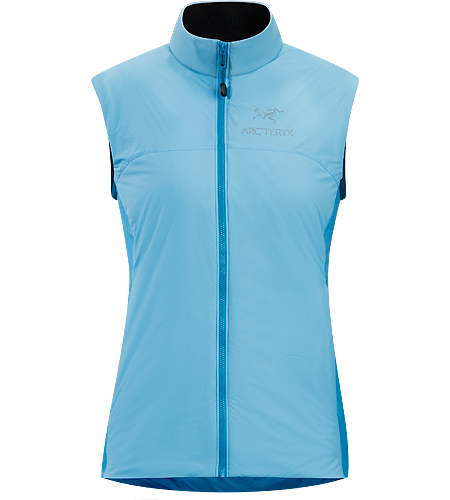 Atom LT Vest Women's Lightweight, insulated Coreloft™ vest, designed to preserve core warmth; Ideal as a layering piece for cold weather activities.