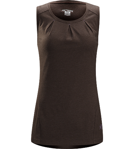 Cassia Sleeveless Women's Trim fit top with pleated bustline detail, wide bra-friendly straps and generous body length.