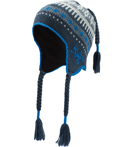 Contrail Toque 100% wool toque with fleece lined earflaps and top braid