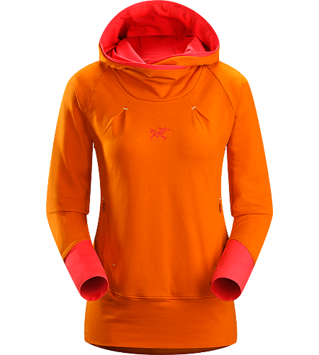 Detente Hoody Women's Relaxed fit, pullover style hoody with a high waistline that sits comfortably under a climbing harness, a lined hood, wrap-around collar and thumbholes in sleeves.