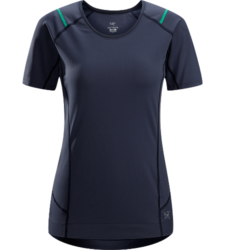 Ensa SS Women's Breathable, moisure wicking, technical short sleeve running shirt made with a slightly heavier fabric that is ideal for active use on cooler days.
