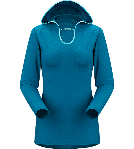Eon SLW Hoody Women's Lightweight base layer with hood, constructed using Merino Wool to maximize moisture management; Ideal for active use and during extended backcountry trips
