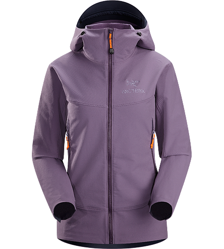 Gamma LT Hoody Women's Durable and breathable, wind and moisture resistant softshell hooded jacket for everyday use.