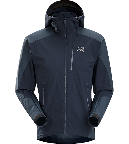 Gamma SL Hybrid Hoody Men's Lightweight, durable wind and moisture resistant hoody constructed using two weights of softshell textile for enhanced mobility and breathability.