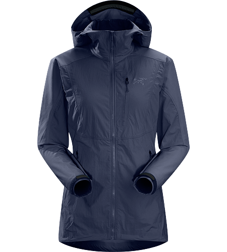 Gamma SL Hybrid Hoody Women's Lightweight, durable wind and moisture resistant hoody constructed using two weights of softshell textile for enhanced mobility and breathability.