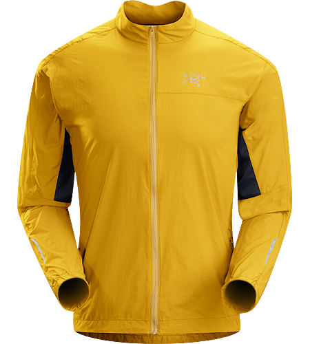 Incendo Jacket Men's Trim-fitting, minimalist running jacket constructed with water-resistant fabric in the body and sleeves. Ideal for high output activities