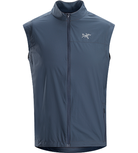 Incendo Vest Men's Ultra-lightweight vest constructed using wind resistant textile in the front, and breathable mesh in the back panel for maximum ventilation during aerobic activities.