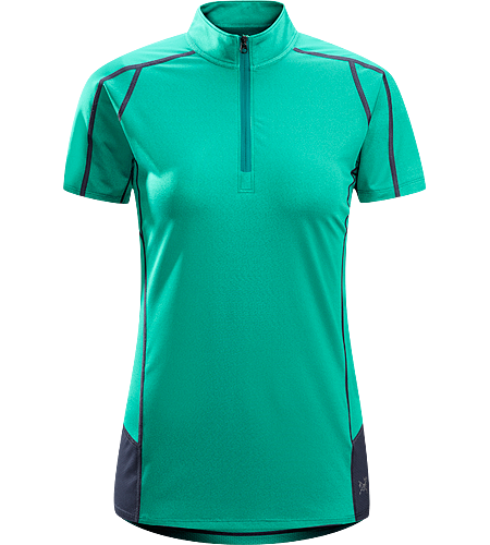 Kapta Zip Neck SS Women's Lightweight, breathable, stretchy short sleeve, zip neck shirt with a mesh back panel; ideal for active pursuits in warm weather