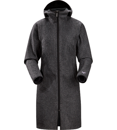 Lanea Long Coat Women's Women's specific, long coat with hood, constructed using a woven wool exterior textile bonded to a light brushed fleece backer for added warmth and comfort. Ideal as a casual yet stylish urban coat for cold winter conditions