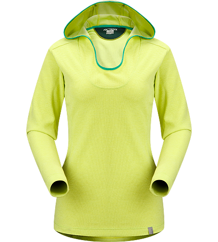 Lodyn Hoody Women's Trim fitting, moisture wicking, lightly insulated wool blend hoody. Ideal as an insulated mid layer for winter living.