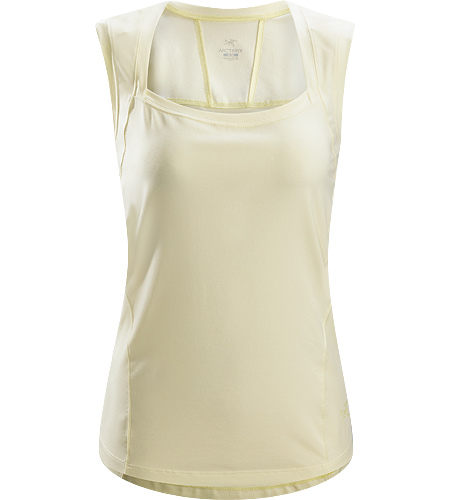 Motive Sleeveless Women's Form-fitted tank top constructed with a stretchy, techincal cotton/polyester/spandex blend textile that is lightweight, helps manage moisture and is comfortable next to the skin.