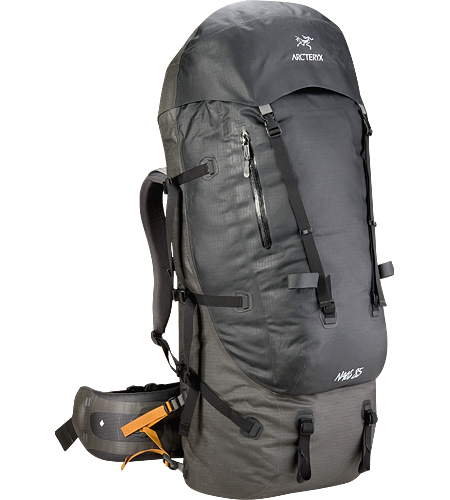 Naos 85 Weather resistant and seam-sealed, fully-featured backpack with fortified Load Transfer Disc and larger hipbelt with side-mounted, weight stabilization straps, designed to carry monster loads