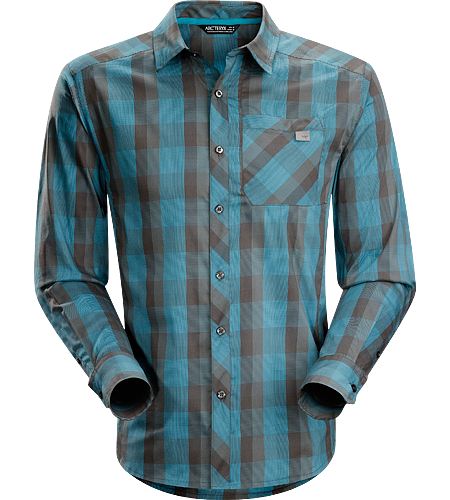 Peakline Shirt LS Men's Trim-fitting, long-sleeved shirt made from breathable, moisture-wicking Verdi Cotton/Polyester blend textile.