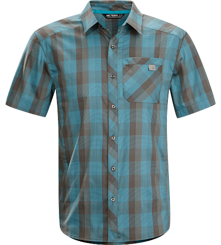 Peakline Shirt SS Men's Trim-fitting, short-sleeved collared shirt made from breathable, moisture-wicking Verdi™ Cotton/Polyester blend textile.