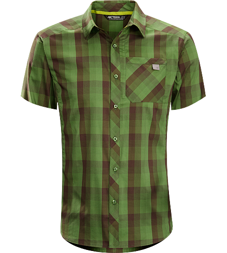 Peakline Shirt SS Men's Trim-fitting, short-sleeved collared shirt made from breathable, moisture-wicking Verdi Cotton/Polyester blend textile.