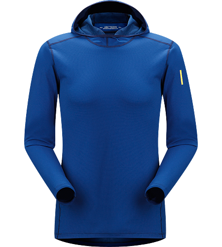 Phase AR Hoody Men's Moisture-wicking base layer with hood, constructed using odour-control, composite textiles and flatlocked seams for added comfort; Ideal as a mid weight insulation layer during aerobic activities