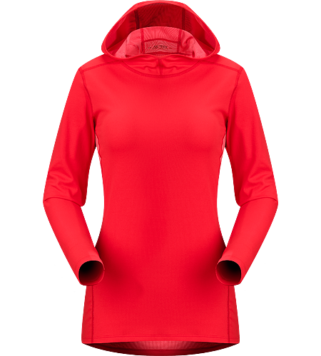 Phase AR Hoody Women's Newly redesigned with enhanced textile and composite construction. Moisture-wicking base layer with hood, constructed using odour-control, composite textiles and flatlocked seams for added comfort; Ideal as a mid weight insulation layer during aerobic activities