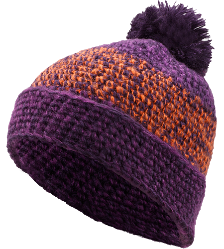 Rolling POM Hat Women's Slouch-fit 100% acrylic toque with chunky knit detail, roll up brim and topped with a large fluffy pom pom