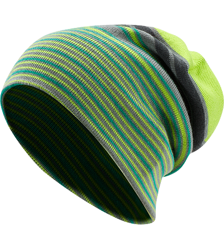 Rolling Stripe Bonnet Bonnet long en mlange laine/acrylique avec rayures latrales de couleurs vives et un bord  enrouler.