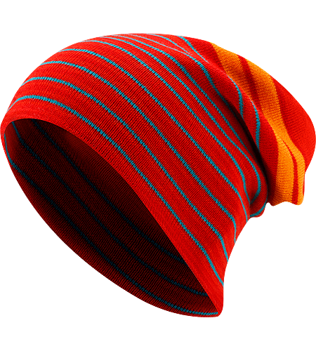 Rolling Stripe Hat Lnger geschnittene Mtze aus Wolle/Polyacryl-Mischgewebe mit keckem Streifenmuster und aufrollbarem Saum.