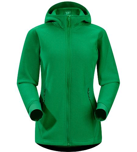 Strato Hoody Women's Insulated, breathable snowsports hoody with a laminated hood brim, designed as a layering piece.