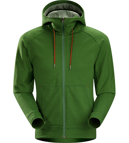 Witness Hoody Men's Relaxed fit hoody with hand pockets and a cinchable, lined hood constructed with Espanda, a stretchy, weighty terry fleece textile with a soft hand