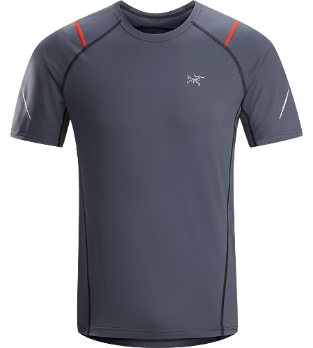 Accelerator SS Men's A lightweight, breathable, moisture-wicking, technical short-sleeve shirt constructed with a slightly heavier fabric and designed for running in cool conditions.