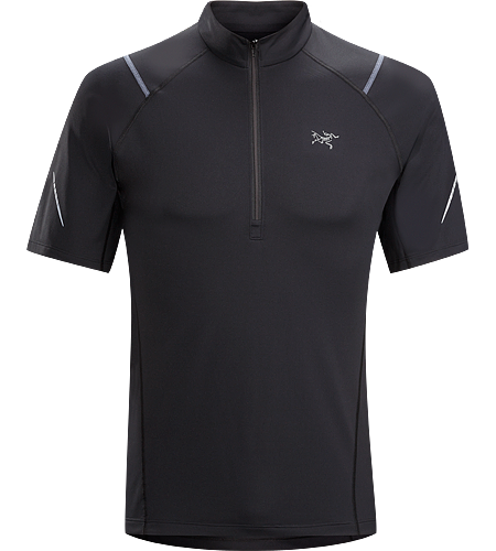 Accelerator Zip Neck SS Men's A lightweight, breathable, moisture-wicking, technical short-sleeve zip neck shirt constructed with a slightly heavier fabric and designed for running in cool conditions.