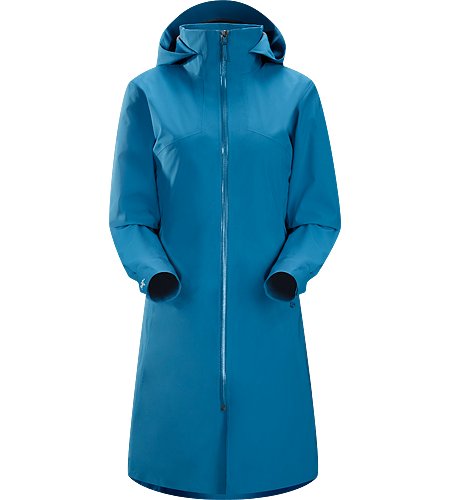 Aphilia Coat Women's Three-season waterproof/windproof GORE-TEX® long coat with soft shell brushed interior.