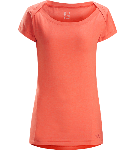 Cassia SS Women's Trim fit capped sleeve top with flattering boat neck and generous body length.