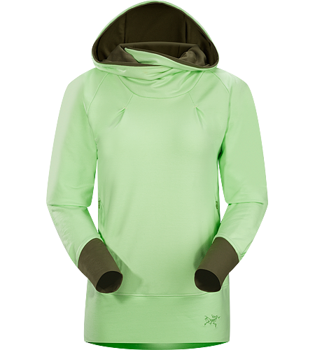 Detente Hoody Women's Casual hooded pullover with wide, flattering, a lined hood, wrap-around collar and thumbholes in sleeves.