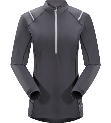 Ensa Zip Neck LS Women's Breathable, moisure wicking, technical long sleeve, zip neck running shirt made with a slightly heavier fabric that is ideal for active use on cooler days.