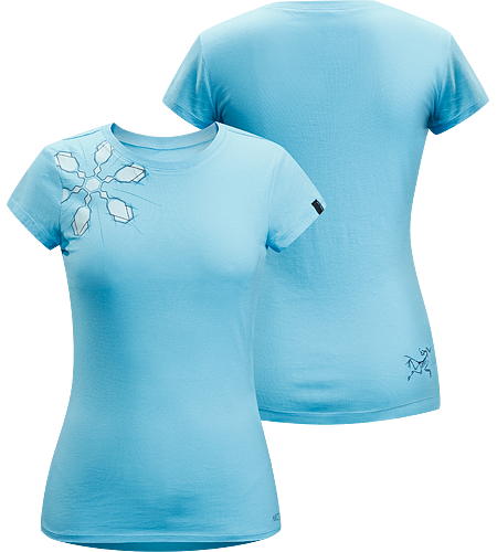 Flake T-Shirt Women's Lightweight, 100% cotton, short-sleeved T-shirt with illustrated snowflake graphic on the front