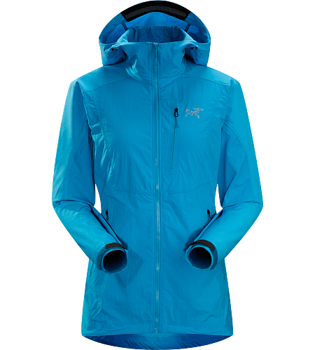 Gamma SL Hybrid Hoody Women's Gamma Series: Softshell outerwear with stretch | SL: Superlight. Lightweight, durable wind and moisture resistant hoody constructed using two weights of softshell textile for enhanced mobility and breathability.