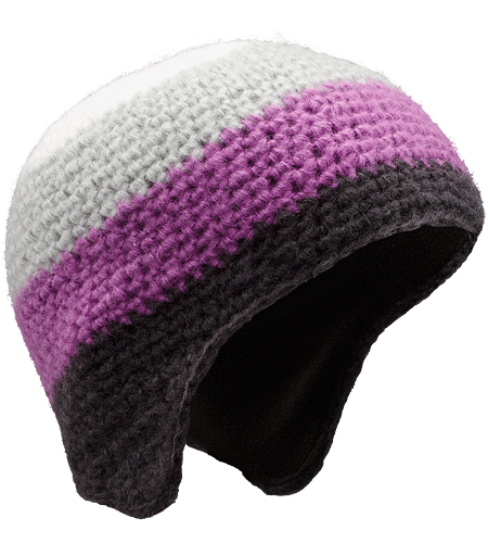 Isoclese Hat Women's Wool/acrylic blend, knitted toque with ear flaps, bold chunky stripes and a micro fleece underband