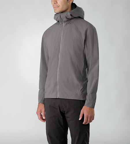 Isogon Jacket Men's Lightweight, wind resistant hooded jacket designed with clean, minimal styling and constructed with a densely woven stretch textile for enhanced comfort and a superior fit.