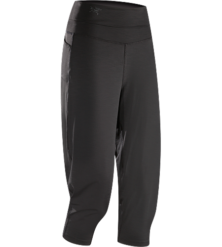 Kaslo Capri Women's Stretchy, durable capri pants with a wide, fold-over waistband that sits comfortably under a climbing harness
