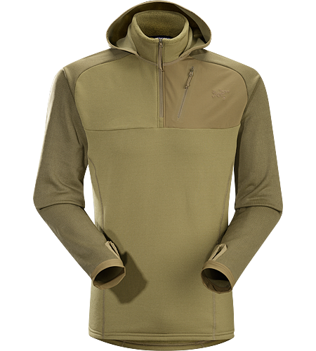 Naga Hoody Men's The Naga Hoody is a slim fitting, casually styled thermal layer. Hybrid construction maximizes the benefits of similar textiles by mapping their performance properties to appropriate areas of a garment.