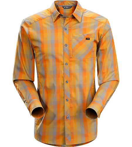 Peakline Shirt LS Men's Trim-fitting, long-sleeved shirt made from breathable, moisture-wicking Cotton/Polyester blend textile.