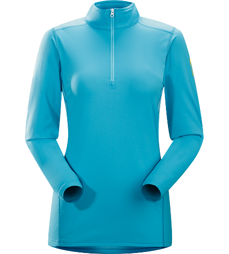 Phase AR Zip Neck LS Women's Phase Series: Moisture wicking base layer | AR: All-Round. Lightly insulated, zip-neck base layer, designed for use during aerobic activities in cooler conditions.