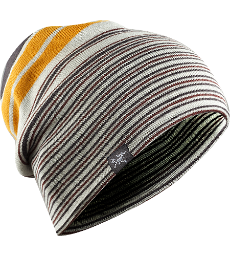 Rolling Stripe Hat Longer length wool/acrylic blend beanie with bold lateral stripes and a roll up brim
