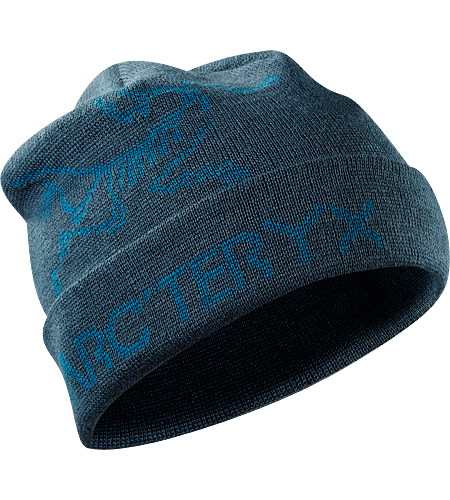 Rolling Word Hat Longer length wool/acrylic blend beanie with bold bird and word graphic and a roll up brim