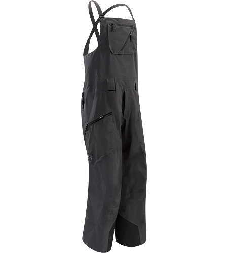 Sabre Full Bib Pant Men's Waterproof, lightly insulated, relaxed fit GORE-TEX® bib with large cargo pockets for storage. Intended for extended use on long, deep snow days.