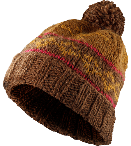 Sarah Toque Women's Slouch-fit Merino wool/acrylic blend toque with a patterned chunky knit detail and topped with a large fluffy pom pom